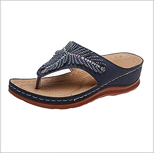 XWCG Sandalias de Plataforma para Mujer Sandalias de Cuña Zapatos de Verano con Sandalias Punta Abierta Comodas Zapato Vintage Sandal Sandal,Azul,44