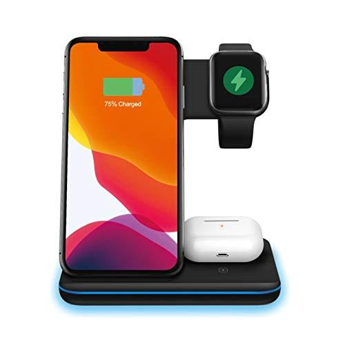 THZCMY 3 en 1 de la Nueva versión, Soporte de Carga para Apple Watch, Airpod Pro 2, Modo de Mesa de Noche para iWatch Series 5/4/3/2, Carga rápida de 15 W para iPhone 12/12Pro/11/XR/Xs/X/8,Negro