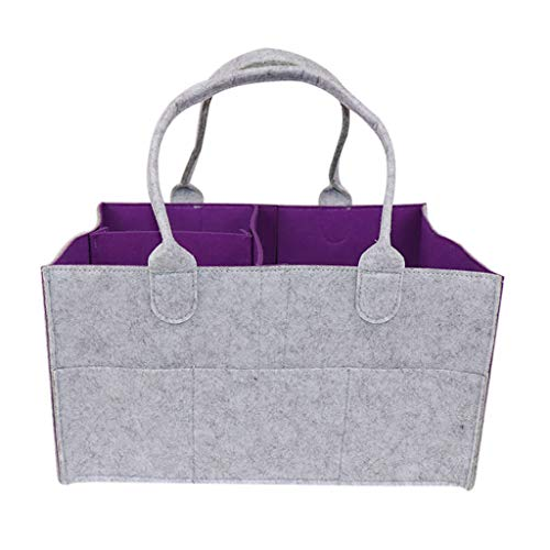 Diaper Stackers & Caddies, Nursery Storage Bin and Car Organizer for Diapers and Baby Wipes, Baby Diaper Caddy Organizer - Baby Shower Gift Basket For Boys Girls | Diaper Tote Bag (Purple, 34X24X18cm)