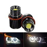 Apmatauto 2Pcs 80w White Angle Eyes LED Marker HALO Ring Light Bulb Replacement For BMW E39 E53 E60 E61 X5 X3 E87 Super Bright Led Energy Save