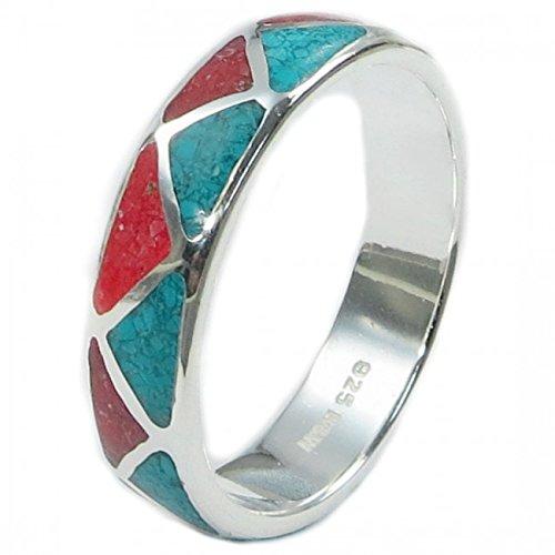 Indianerschmuck Ring aus Sterling Silber - Indianer Hochzeitsring,Türkis/Koralle-13: Durchmesser 22,30 mm, Umfang 70,00 mm