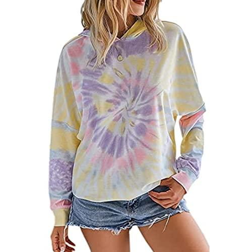 N\C Mujeres Tie-Dye Gradient Arco Iris Manga Larga Sudadera con Capucha suéter Casual Primavera Tie Dye Camiseta Camiseta XL 紫色