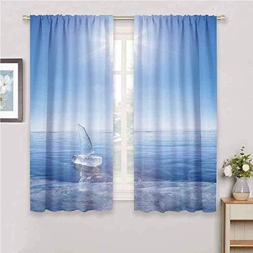 JNWVU Blickdicht Vorhang für Schlafzimmer - Blau EIS Boot Meer - 3D Druckmuster Öse Thermisch isoliert - 140 x 160 cm - 90% Blickdicht Vorhang für Kinder Jungen Mädchen Spielzimmer