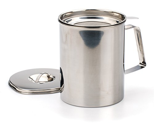 RSVPInternational Endurance Stainless Steel Fryer's Friend Pot Can, 6 Cup | For Cooking Oil, Fats, Olive Oils, Coconut Oil & More | Includes Mesh Strainer | Grease Storage|Dishwasher Safe