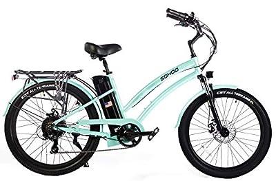 """SOHOO 48V500W12Ah 26"""" Adult Beach Cruiser Step-Thru Electric Bicycle City E-Bike Mountain Electric Bike (Green)"""