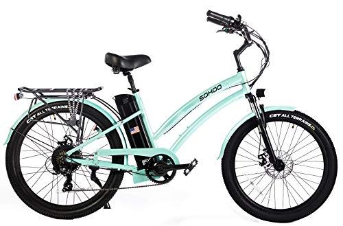 """SOHOO 48V500W12Ah 26"""" Beach Cruiser Step-Thru Electric Bicycle City E-Bike Mountain Electric Bike (Green)"""
