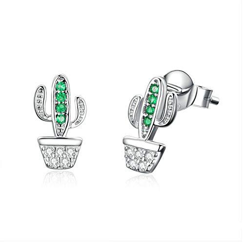 925 Pendientes de plata pura Uñas en maceta Cactus Planta Set de uñas con aretes de circón