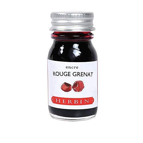 Herbin 11529T - Encre d'écriture et de dessin - Stylo-plumes et stylos roller - Rouge grenat - 10 ml - Fabriqué en France