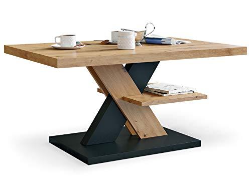 Viosimc Moderner Wohnzimmertisch, Couchtisch Eiche Aristan & Schwarz, Wohnzimmer Sofatisch Kaffeetisch, Modern Matt Sofa Tisch mit Großer Ablage, Mittel- oder Beistelltisch für Tee und Kaffee