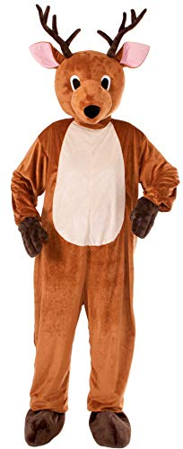 Forum Novelties Men's Reindeer Plush Mascot Costume, Brown, One Size(Fits up to Chest size 42)