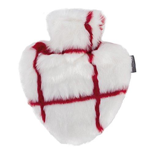 fashy Herzwärmflasche mit hochwertigem Bezug aus Fellimitat, rot/weiß