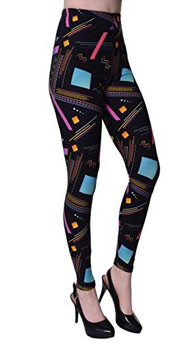 80s Pattern Print Leggings for Women, Standard to Plus Size 24