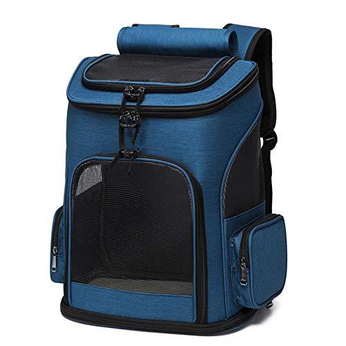FLKENNEL Atmungsaktiver Hunde-Rucksack,Faltbarer Haustier Rucksack für kleine Hunde Katzen Kaninchen,Belüftetes Design und Sicherheitsmerkmale für Reisen, Wandern und im Freien,Blau