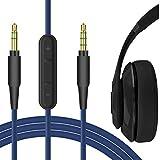 Geekria - Cable de audio con micrófono para auriculares Beats Solo 3, Solo 2, Solo HD, Studio 3, Studio3, Solo3, Solo2, 3,5 mm, cable estéreo de repuesto con micrófono y control de volumen, color azul