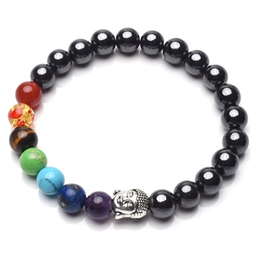 CrystalTears 7 Chakra Hematite Bracelet Healing Crystals Magnetic Therapy w/Buddha Head Yoga Meditiation