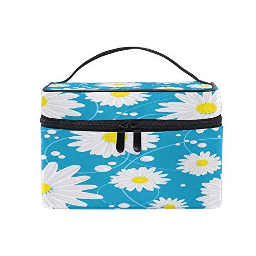 Pixiuxiu - Bolsa de maquillaje, diseño de flores, margaritas y lunares, tamaño grande, asa de viaje, bolsa personalizada con compartimentos para adolescentes y mujeres