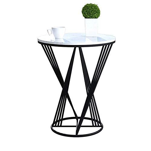 GAOLIM Table d'appoint marbre Petite Table Ronde Salon Fer Art canapé Table d'appoint Table d'angle Chambre Table de Chevet Balcon Table Basse , 19.6 `` & Times; 23.6 '' (Couleur: Noir)