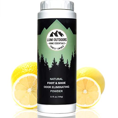 Natural Foot Deodorizer Powder & Shoe Odor Eliminator - Talc Free Foot Deodorant by Lumi Outdoors