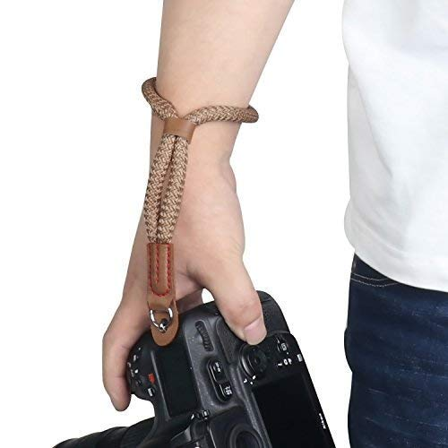 Kamera Handschlaufe, Sugelary Kamera Gurt Baumwoll Handgelenk-Schlaufe Trageschlaufe für Systemkamera Canon Sony Nikon DSLR SLR (Braun)
