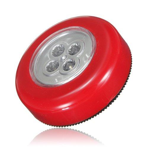 Lampes 4 LEDs touché ADHESIVES Autocollantes Spot PLAFONNIER Portable sans Fil Rouge