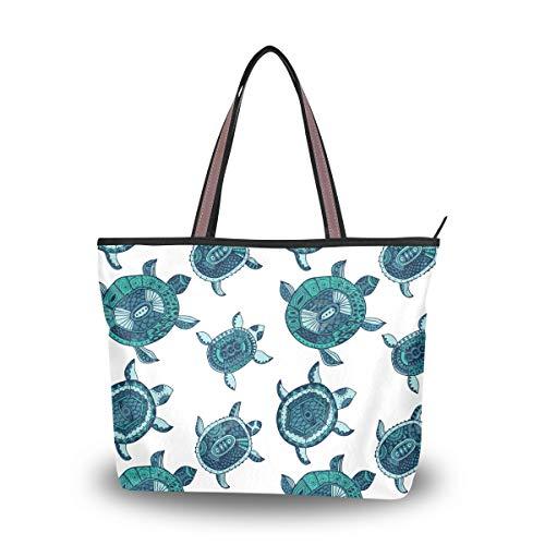 Eslifey Damen Handtasche mit Schildkrötenmotiv, Grün Gr. 38, multi