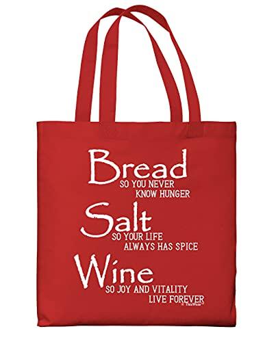 Bread Salt Wine Housewarming Gift Bag For Women Wonderful Life Quote Bread Salt Wine Lightweight Red Canvas Tote Bag
