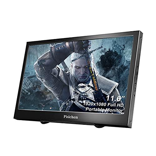 Pisichen Monitor portatile da 11,6 pollici Full HD 1920 x 1080 schermo IPS portatile Display ultra sottile cassa in metallo nero altoparlante integrato compatibile con computer portatile, Raspberry Pi