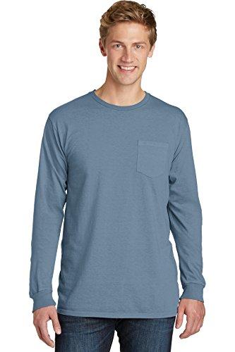 Port & Company® Pigment-Dyed Long Sleeve Pocket Tee. PC099LSP Denim Blue L