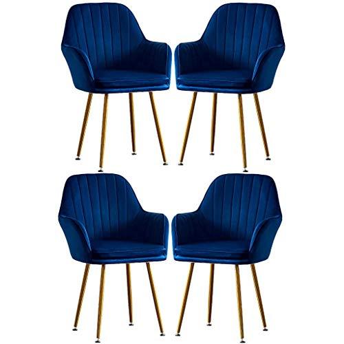 HYRGLIZI Exquisitas sillas de Comedor de Franela, sofá Individual, Silla para niña, Maquillaje, tocador, salón, Ocio, Taburete de uñas, sillones de Moda Creativa, Juego de 4, Tienda de Inicio (Color: