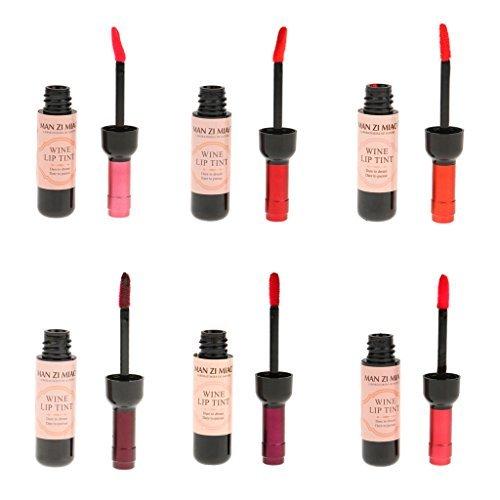 5Five 6 Pezzi di Bottiglia di Vino Lip Gloss Lunga Durata Liquido Tint Impermeabile Rossetto Opaco, Bellezza Trucco Labbra