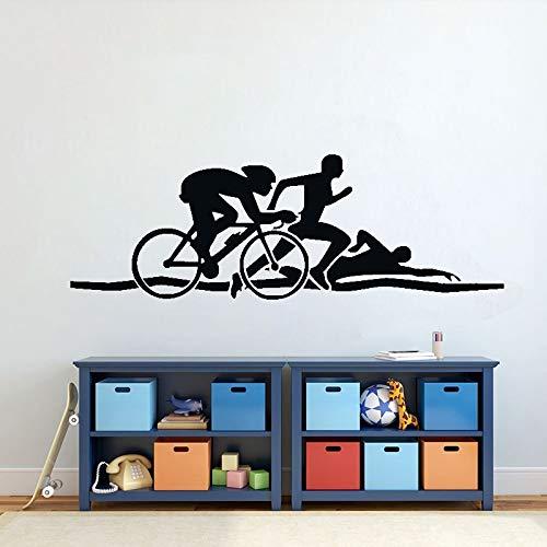 Natación Correr Ciclismo Triatlón Atletismo Deportes Logotipo GIMNASIO Fitness Etiqueta de la pared Calcomanía de vinilo Dormitorio Sala de estar Sala de entrenamiento Club de culturismo Decoraci