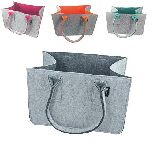 Tebewo Shopping-Bag aus Filz, große Einkaufs-Tasche mit Henkel, Einkaufskorb, Faltbare Kaminholztasche zur Aufbewahrung von Holz, vielseitige Tragetasche, Farbe grau (grau/dunkelgrau)