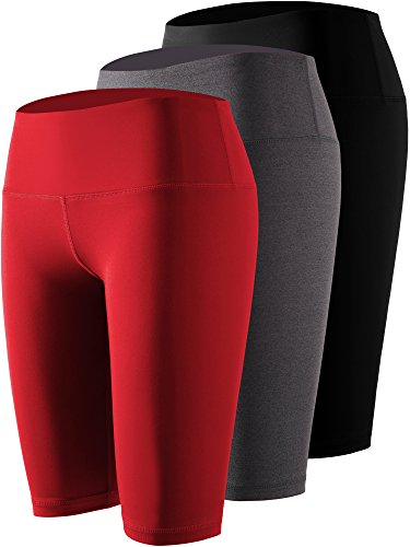 Cadmus Women's 3 Pack Compression Athletic Workout Shorts with Pocket,04,Black,Grey,Red,Medium