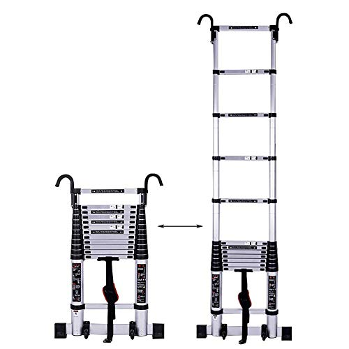 Xinmier Outdoor Extension Step Ladder 2-5M Tall Ladder Foldable Industrial Loft Ladder with Hooks Telescopic Ladder Construction Ladder Load 150kg (Size : 5.9m/19.3ft)