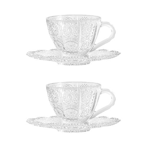 Amosfun 2 Set di Tazze di Vetro Tazze di tè Irlandese di caffè di Natale Set di Tazza di Cioccolata Calda Cristalleria Bere Occhiali retrò Europeo di Vetro Tazze di Acqua-Tazze di caffè