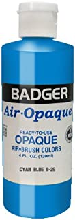 Badger Air-Brush Company Air-Opaque Airbrush Ready Water Based Acrylic Paint, Cyan Blue, 4-Ounce