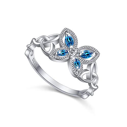 JZMSJF 925 Sterling Silver Fashion Dainty Celtic Knot Butterfly Ring Hypoallergenic Jewelry for Women Girls Size 7