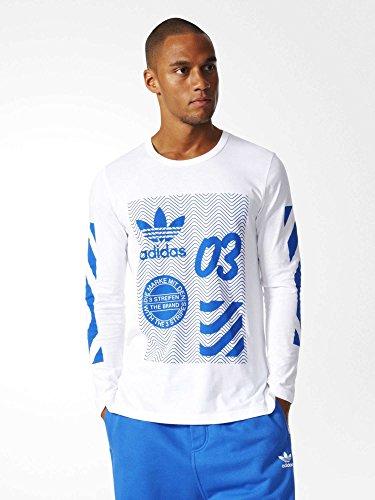adidas NYC LS Camiseta de Manga Larga, Hombre, Blanco (Blanco), M
