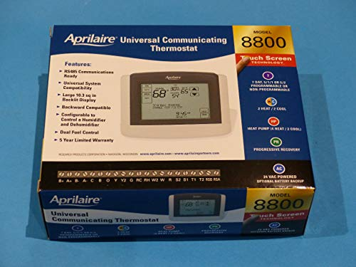 Aprilaire 8800 Touchscreen Thermostat, Programmable, HVAC Control