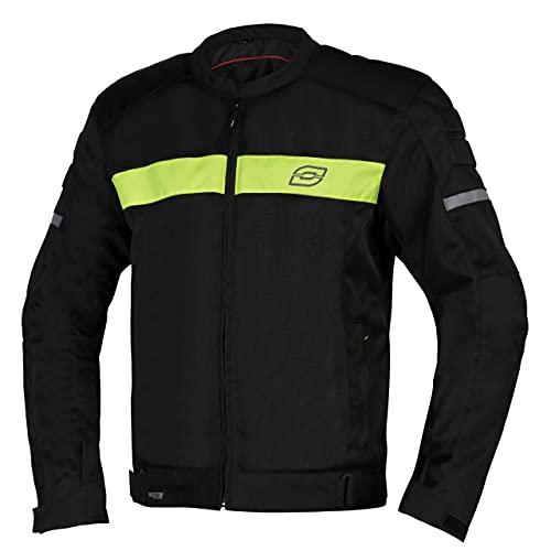 Ozone Dart Motorradjacke für Männer Ellbogen und Schulterprotektoren Reflektierende Elemente Stahlgewebe-Einsätze 4 Taschen CE-Zertifizierung