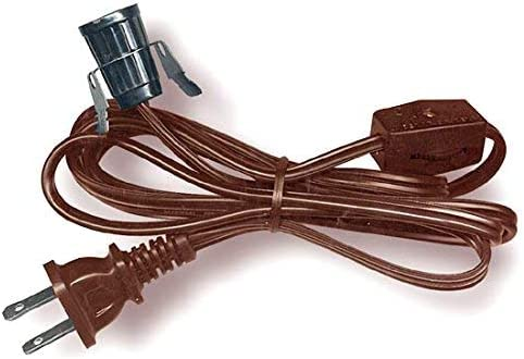 National Artcraft Lamp Cord Set With Clip In Socket Switch And Plug 6 Ft Heavy Duty Brown Pkg 1 Home Kitchen