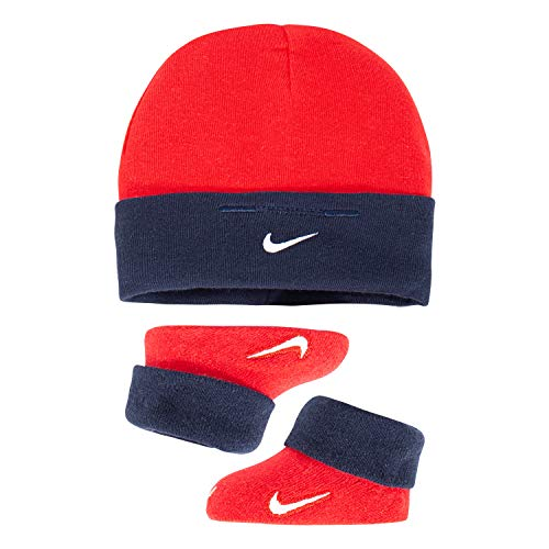 NIKE Children's Apparel Baby Hat and Booties 2-Piece Set, Red/Blue, 0/6M