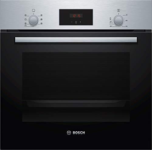 Bosch HND271AS61 - Placa de cocina (empotrable, 59,4 cm, acero inoxidable, puerta abatible, autopiloto 10, pirólisis, cocina eléctrica con pantalla LED, marco giratorio)