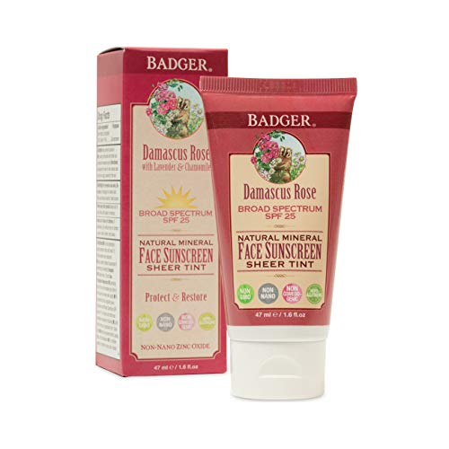 Badger - SPF 25 Zinc Face Sunscreen Lotion - Damascus Rose - Broad Spectrum Everyday Face Sunscreen, Natural Mineral Face Sunscreen with Organic Ingredients 1.6 fl oz