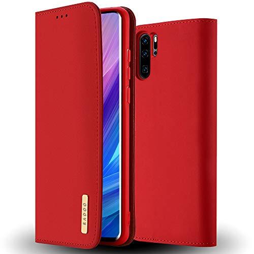 RADOO Huawei P30 Pro Hülle, Premium Echtes Leder Klapphülle Slim Lederhülle TPU Innenraum Hülle Schlanke Ledertasche Handyhülle für Huawei P30 Pro (Rot)