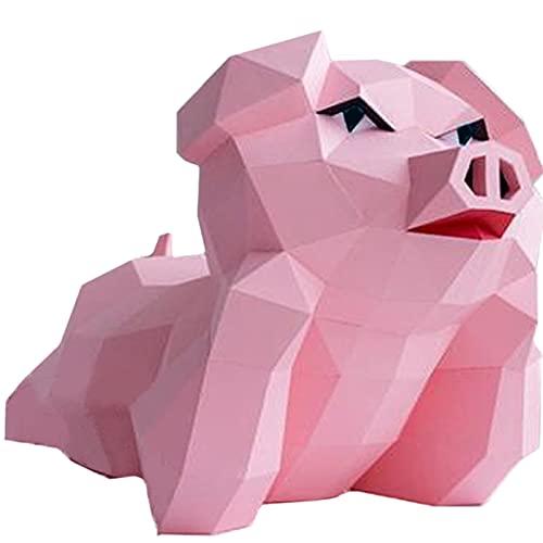 Cerdo DIY Escultura De Papel Precortado Artesanía En Papel Hecho A Mano 3D Modelo De Papel De Animales Juguete De Papel Rompecabezas De Origami Geométrico, Arte De Pared Para Niños Para Dormitorio