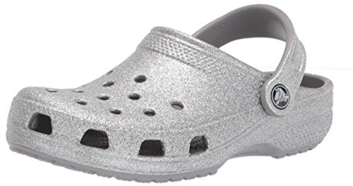 Crocs unisex adult Classic Sparkly Shimmer | Metallic and Glitter Shoes Clog, Silver, 7 Women 5 Men US
