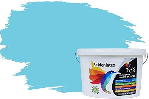 RyFo Colors Seidenlatex Trend Blautöne Himmelblau 12,5l - bunte Innenfarbe, weitere Blau Farbtöne und Größen erhältlich, Deckkraft Klasse 1