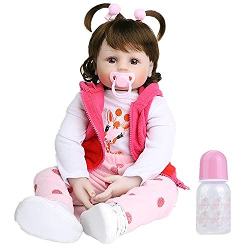 ZIYIUI Bebes Reborn Silicona Muñecas Reborn niñas Reales Baby niño Realista Toddler Dolls Girls Ojos Abiertos Verdadero Baratos Muñecos Reborn Originales Bebe Reborn 50 Cm Cervatilla Outfit