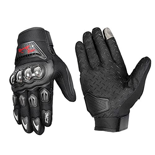 Guantes Protectores de Carreras de Acero Inoxidable para Montar al Aire Libre Guantes de Pantalla táctil de motocicleta-negro-XXL-B79